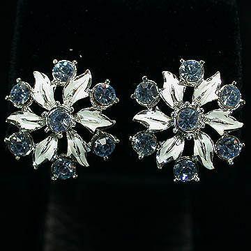 Coro Clip Earrings - White Enamel Leaves & Ice Blue Stones