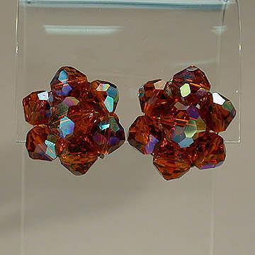 Laguna Amber Aurora Borealis Crystal Cluster Earrings