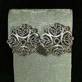 Trifari Silvertone Openwork Scroll Clip Earrings