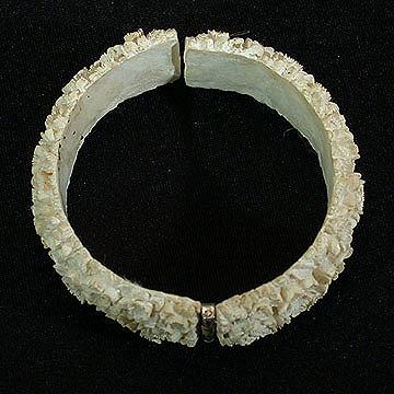 Highly Detailed White Floral Clamper Bracelet