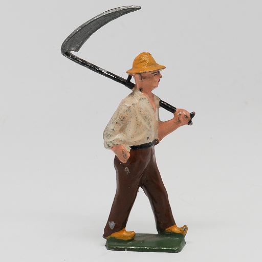 Farmer with Scythe Lead Figure for Farm or Train Layout Made in France