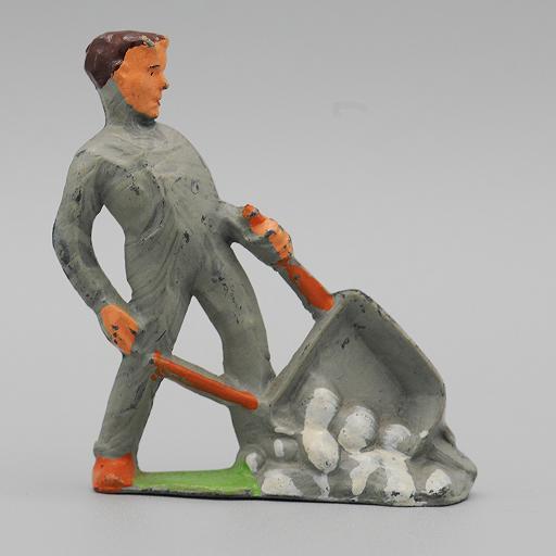 Manoil Man   with Wheelbarrow  from Happy Farm Series Dimestore Figure