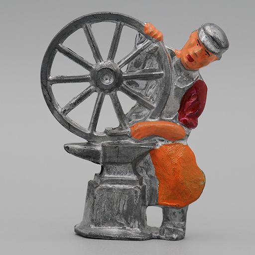 Manoil Blacksmith with Wheel  from Happy Farm Series Dimestore Figure 1/24